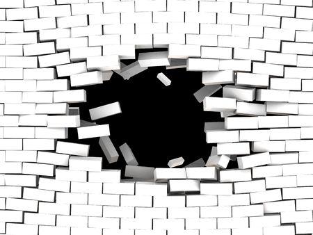 pared rota: 3d ilustraci�n de romper el fondo blanco muro de ladrillo