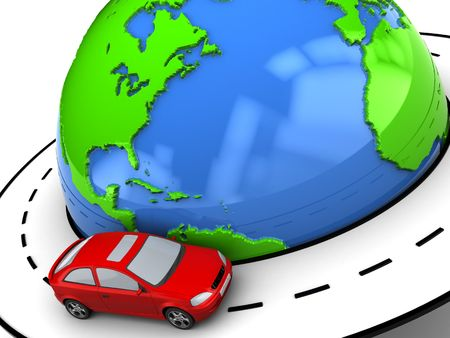 drive around the world: 3d illustration of earth globe with road around it and red car
