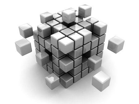 abstract 3d illustration of cube assembling from blocks Stock Illustration - 5749716