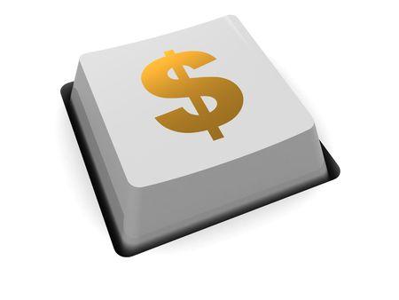 bijschrift: 3d illustratie van de computer sleutel met dollarteken bijschrift Stockfoto