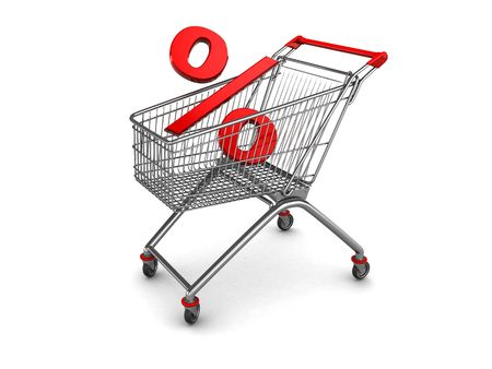 3d illustration of percent sign in shopping cart illustration