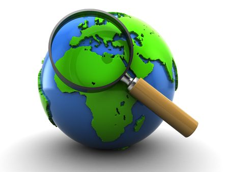 magnified: 3d illustration of earth globe and magnify glass, over white background