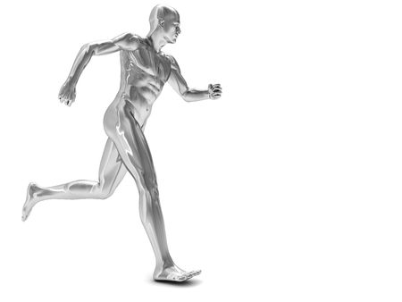 copy: 3d illustration of silver running man over white background