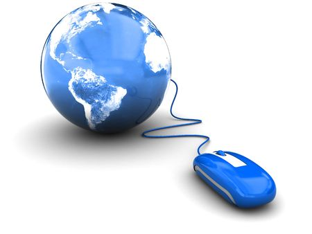 computers and communications: 3d illustration of blue computer mouse connected to earth globe Stock Photo