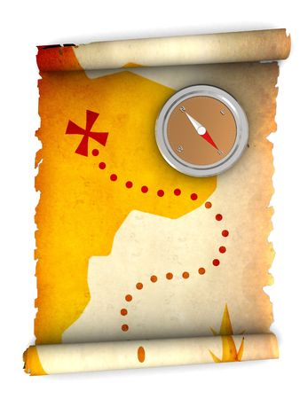 3d illustration of rolled treasure map and compass Stock Illustration - 5752221