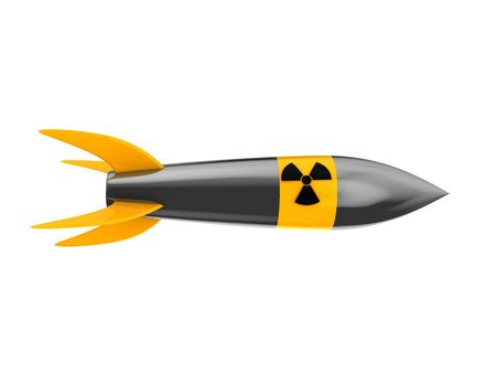 cartoon rocket: 3d illustration of nuclear missile isolated over white background
