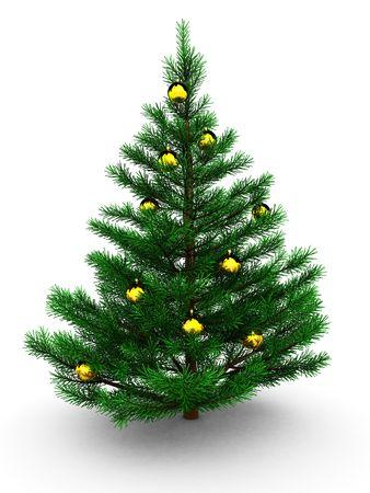 3d illustration of christmas tree with golden balls illustration