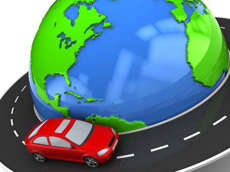 drive around the world: 3d illustration of road around earth with red car