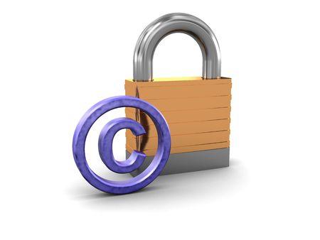 copyrights: 3d illustration of copyrights symbol and padlock