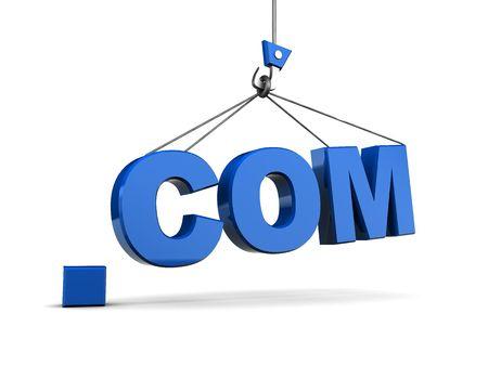 3d illustration of '.com' sign and crane over white background Stock Illustration - 5778700