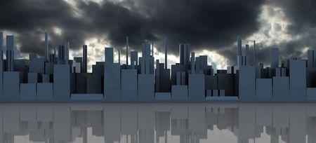 abstract 3d illustration of dark panoramic cityscape Stock Illustration - 5778715