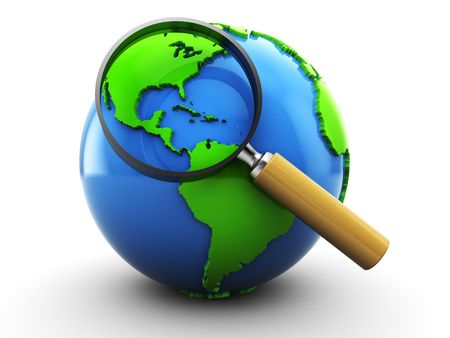 magnified: 3d illustration of earth globe and magnifying glass