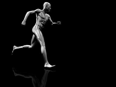 endurance run: 3d illustration of steel running man figure over black background Stock Photo