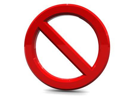 cancel: 3d illustration of danger or cancel sign over white background