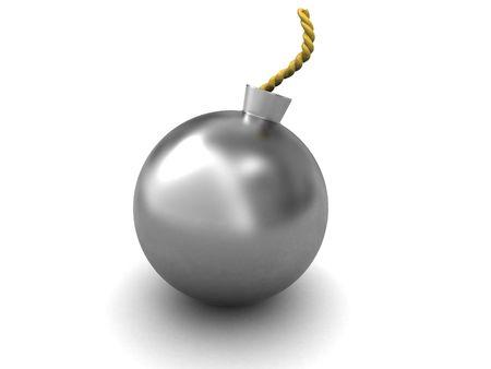 3d illustration of steel ball sphere over white background Stock Illustration - 5872542
