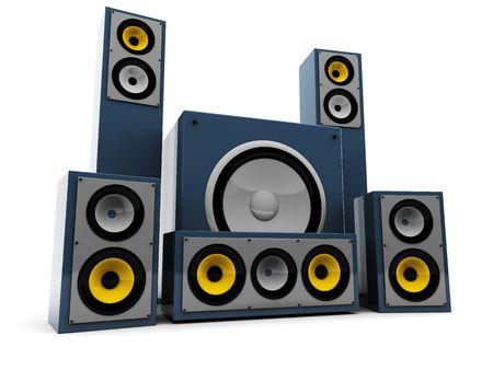 3d illustration of modern audio system over white background illustration