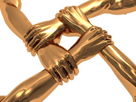 strong partnership: abstract 3d illustration of four golden hands holding each over