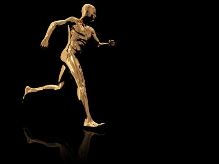 endurance run: 3d illustration of golden running man over black background Stock Photo
