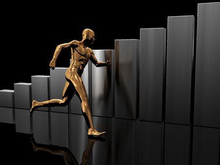 3d illustration of running man and raising charts, over black background illustration