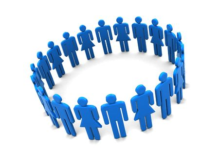 humane: 3d illustration of people circle over white background