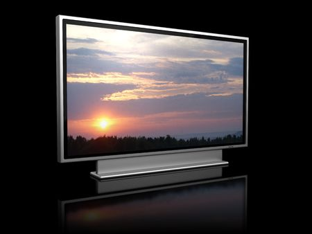 3d illustration of plasma tv over black background illustration