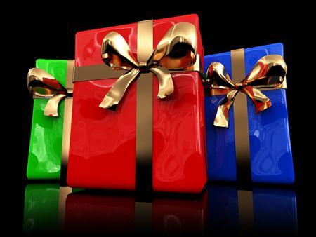 3d illustration of present boxes over black background illustration
