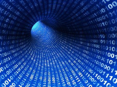 bytes: 3d illustration of blue digital tunnel, internet concept Stock Photo