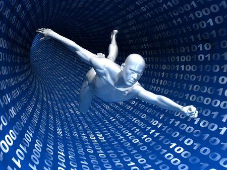 tunnel di luce: illustrazione 3d astratto di spazio internet surf