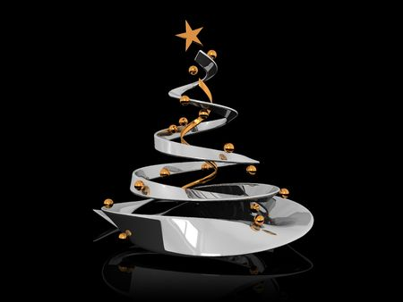 abstract 3d illustration of stylized Christmas tree over black background Stock Illustration - 5872537