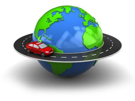 illustrated globe: 3d illustration of road around earth globe Stock Photo