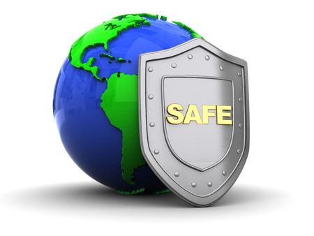 firewall icon: 3d illustration of earth globe and shield
