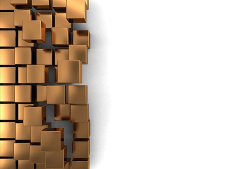 abstract 3d illustration of background with golden cubes at right side Stock Illustration - 5921908