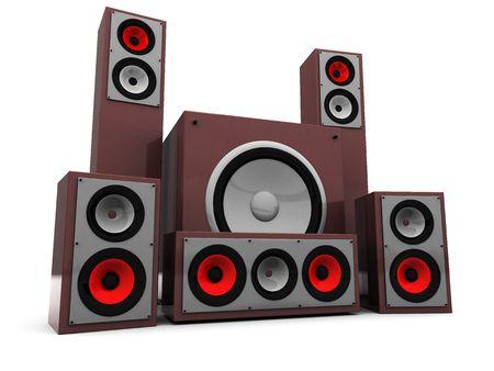 3d illustration of powerfull audio system over white background illustration
