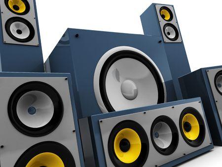 3d illustration of powerful audio system closeup illustration