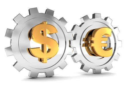 euro: 3d illustration of dollar and euro gear wheels system
