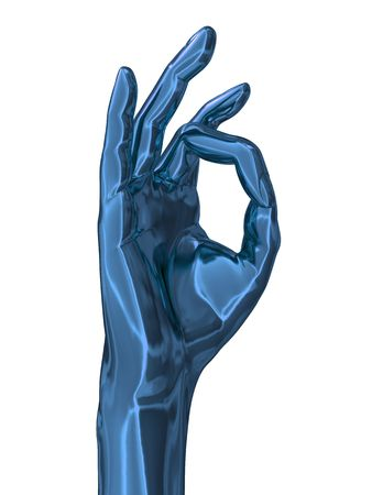 right hand: 3d illustration of blue metal hand with okay gesture