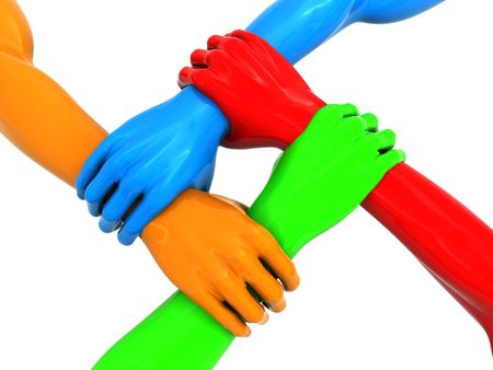 four fingers: 3d illustration of four colorful hands holding each over Stock Photo