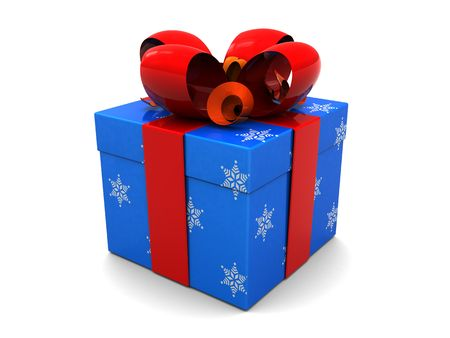 blue box: 3d illustration of christmas present box over white background Stock Photo