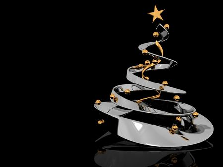 abstract 3d illustration of stylized christmas tree over black background illustration