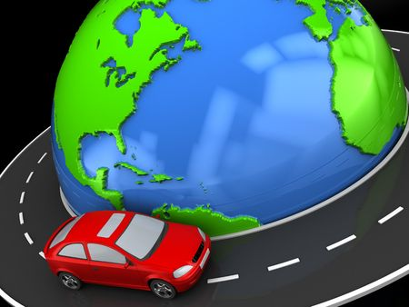 drive around the world: abstract 3d illustration of road around earth and car