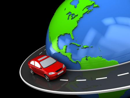 drive around the world: abstract 3d illustration of road around earth globe Stock Photo