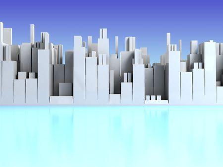 abstract 3d illustration of light blue cityscape background illustration