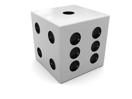 wagers: 3d illustration of single dice over white background Stock Photo