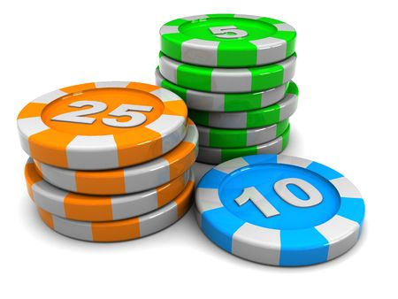 chips stack: 3d illustration of casino chips stack over white background