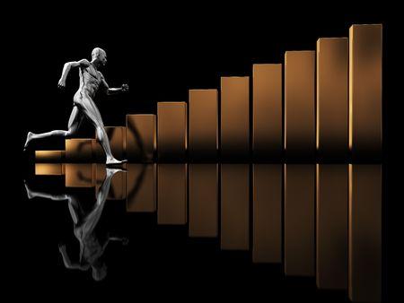 abstract 3d illustration of running man and raising charts illustration