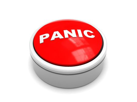 3d illustration of red 'panic' button over white background Stock Illustration - 5961560