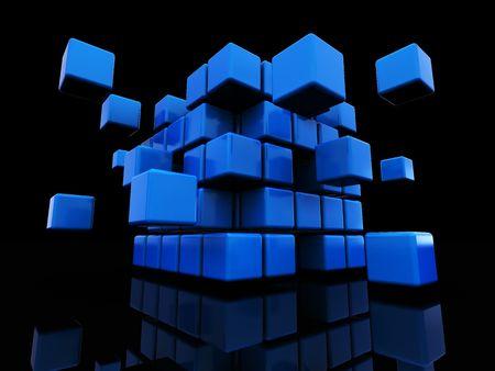 abstract 3d illustration of blue cube assembling from blocks illustration