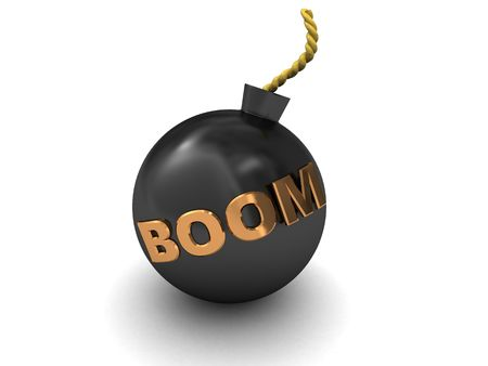3d illustration of bomb over white background with 'boom' caption Stock Illustration - 5961587