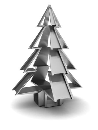 metal template: abstract 3d illustration of steel christmas tree over white background