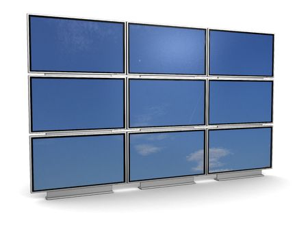 big screen: 3d illstration of presentation tv wall, over white background